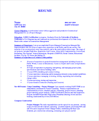 Construction Estimating Certification by Sle Construction Resume 9 Exles In Word Pdf