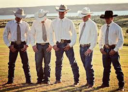 western wedding white shirts ties and cowboy hats western wedding