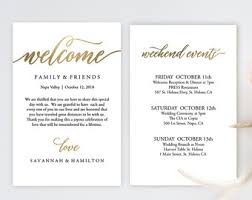 wedding itinerary etsy