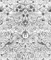 william morris strawberry thief black and white wallpaper