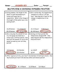 and dividing integers word problem practice plus spiral review
