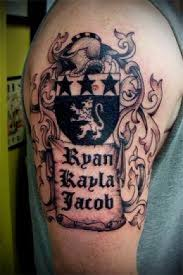 family crest on right half sleeve