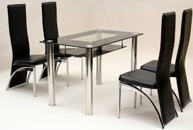 Dining Table  Chairs Heartlands Vegas Black Glass Dining Table - Black dining table for 4