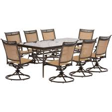 Hanover Patio Furniture Hanover Fontana 9 Piece Aluminum Rectangular Outdoor Dining Set