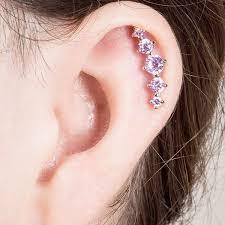 cartilage piercing earrings freshtrends cz crescent 5 gem cartilage piercing earring