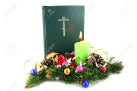 christmas time bible with the xmas decorations stock photo