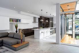 look of grey walls living room and kitchen open floor plan