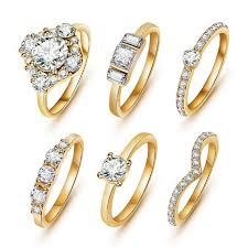 finger rings girls images 6pcs set shiny gold color finger ring proud girl jpg