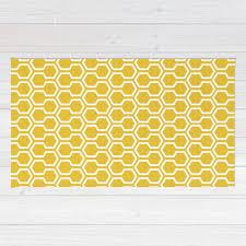 Modern Yellow Rug Honeycomb Pattern Area Rug Mustard Yellow Rug Geometric Area