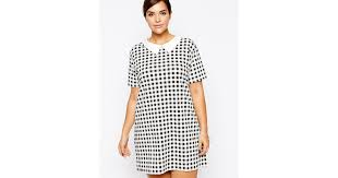 pattern a line shift dress lyst ax paris plus size shift dress with collar in gingham check