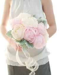 Wedding Flowers Peonies Up Cycled Handmade Fabric Flower Peony Bouquet Light Pink Peony