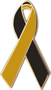 black and yellow ribbon and gold awareness ribbons lapel pins