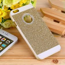 gold glitter car for iphone6 luxury bling rhinestone case for iphone 6 apple logo