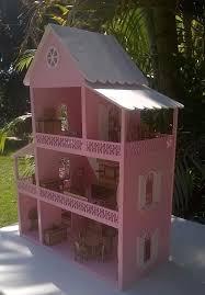 casa boneca polly mdf pintada com moveis barbie stuff doll
