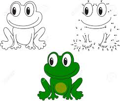 cartoon frog coloring and dot to dot educational game for kids