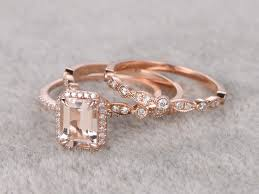 gold bridal set 1 2ct emerald cut morganite wedding set deco antique diamond