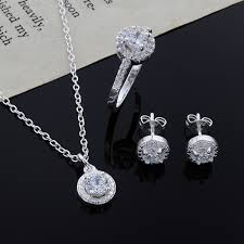 sterling silver necklace set images Fashion wedding engagement jewelry sets silver pendant necklace jpg