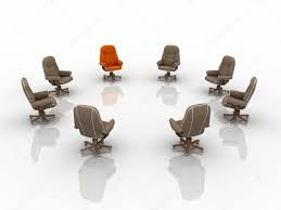 Red Armchair Business Team Armchairs With Leader Red Armchair U2014 Stock Photo