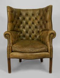 Leather Wingback Chair 19th Century Georgian Tufted Green Leather Wing Chair For Sale At