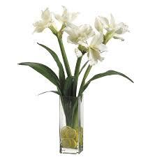 Silk Amaryllis Flowers - amaryllis in a glass vase with lemons