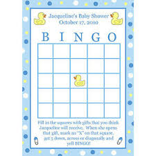 baby shower bingo 24 personalized baby shower bingo cards blue rubber ducky ebay