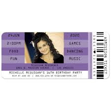 retro concert admission ticket photo sweet 16 party invitation