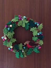 wreath using crochet felt and baubles on a polystyrene