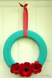 the handcrafted summery felt poppy yarn wreath