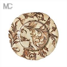 2017 new design glass charger plates wholesale with glitter buy