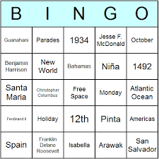columbus day bingo cards printable bingo activity game and