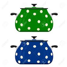 dessin casserole cuisine casserole dessin animé vert et bleu sur un fond blanc ustensiles de