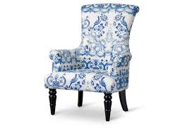 elegant blue ikat slope arm accent chair and white within chairs