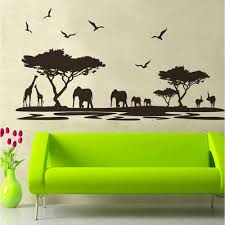 compare prices on tree wall online shopping buy low price tree safari wall sticker tree wall stickers with giraffe elephant deer animal wall art for baby nursery