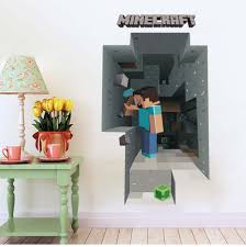 compare prices on minecraft wall mural online shopping buy low removabled 3d wallpaper decals minecraft wall stickers for kids rooms minecraft steve home decor popular games