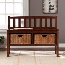 harper blvd beacon white bench with rattan basket storage free