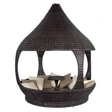 Outdoor Wicker Patio Furniture Round Canopy Bed Daybed - amazing outdoor daybed rattan wicker furniture brown finish