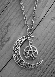 gothic moon necklace images Silver moon necklace moon jewelry pentagram pentacle gothic goth jpg