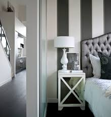 chic bedroom design with white u0026 charcoal gray striped walls