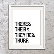 spr che f r ruhestand there their they re thurr slang print poster 11x17