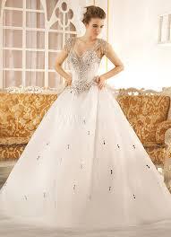 milanoo robe de mari e robe de mariage exquise a ligne en tulle blanc avec strass col v