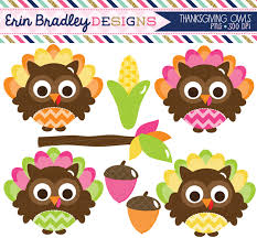 erin bradley designs thanksgiving owls clipart digital papers