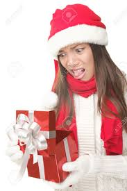 christmas gift woman opening gift disappointed and unhappy