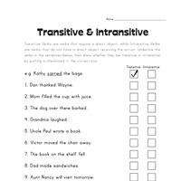transitive and intransitive verbs worksheet all kids network