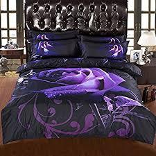 Purple Floral Comforter Set Amazon Com Joubuy 4 Piece Cotton Duvet Cover Set Queen 3d