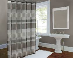 bathroom white and grey shower curtain with stripe patern for