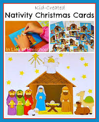 kid created nativity cards in lieu of preschool
