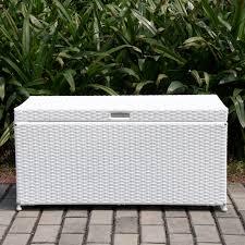 Wicker Storage Bench Jeco 40 In Outdoor Wicker Patio Furniture 65 Gallon Storage Deck
