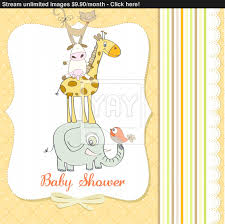 baby shower card with funny pyramid of animals vector yayimages com