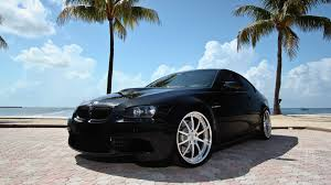 bmw m3 stanced black miami palm trees seascapes bmw m3 sport cars e92