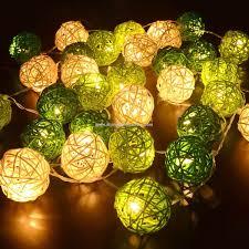 rattan ball fairy lights promotional lake green color 30pcs rattan ball string lights battery